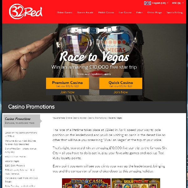 32Red's Race to Vegas Offers the Holiday of a Lifetime