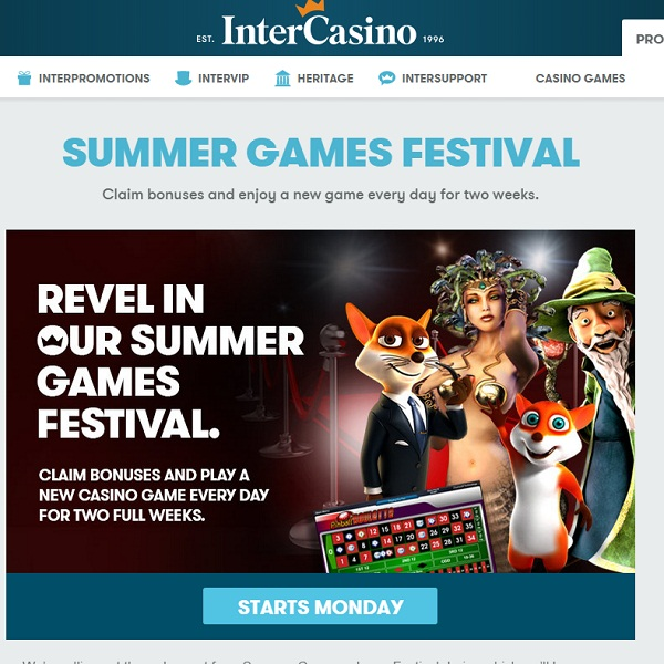 InterCasino's Summer Games Festival Offers New Releases Daily