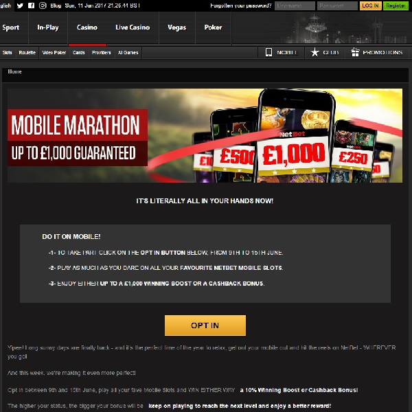 Receive Up to £1,000 in NetBet Casino's Mobile Marathon