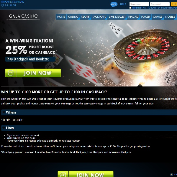 Gala Casino Offers Win-Win on Table Games