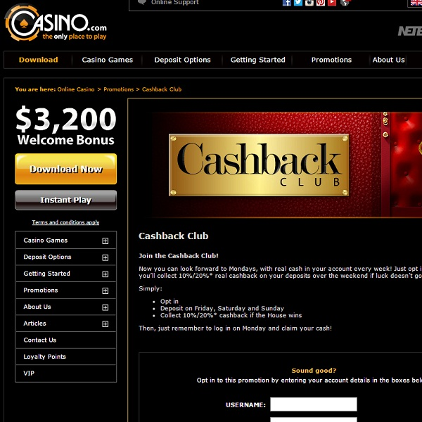 Claim Up to 20% Weekly Cashback at Casino.com