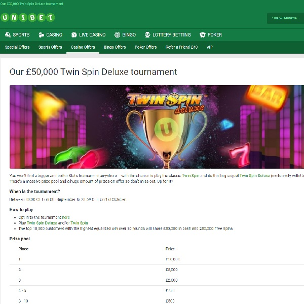 Win A Share of £50K in Unibet's Twin Spin Deluxe Tournament