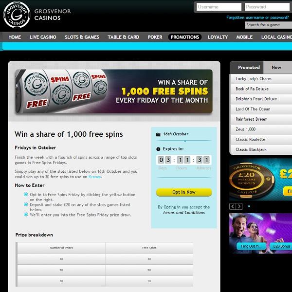 Enjoy Friday Free Spins at Grosvenor Casino