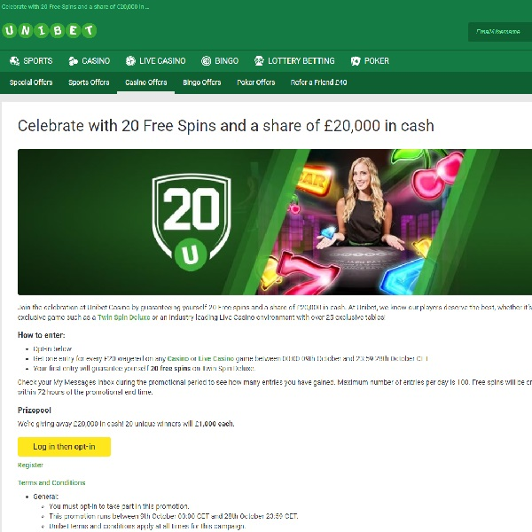 Win a Share of £20K at Unibet Casino