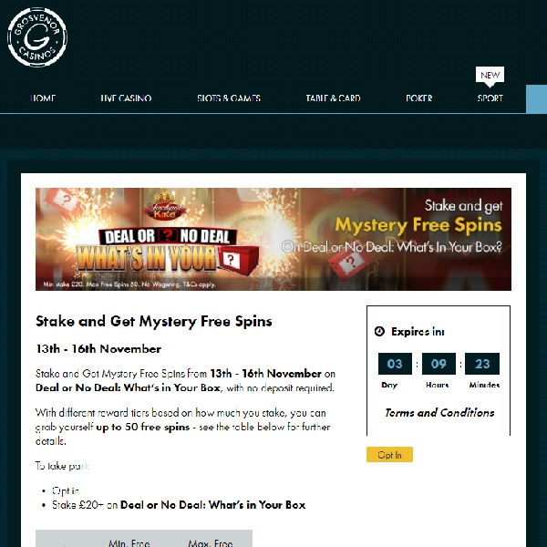 Win Up to 50 Free Spins at Grosvenor Casino