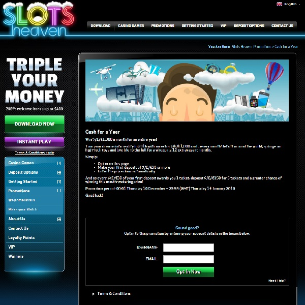 Win £1,000 Cash Every Month for a Year at Slots Heaven