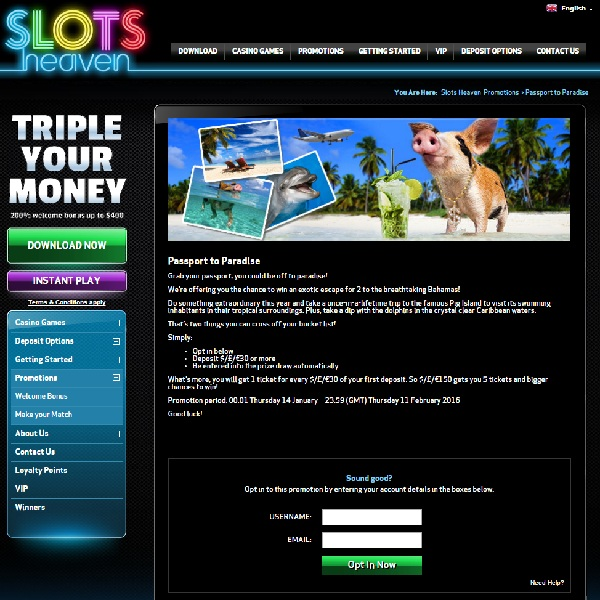 Win a Trip to the Bahamas at Slots Heaven Casino