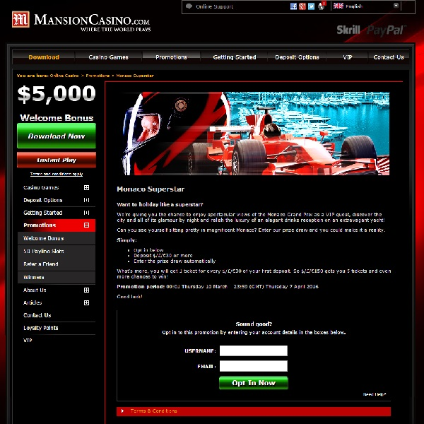 Win Superstar Monaco Trip at Mansion Casino