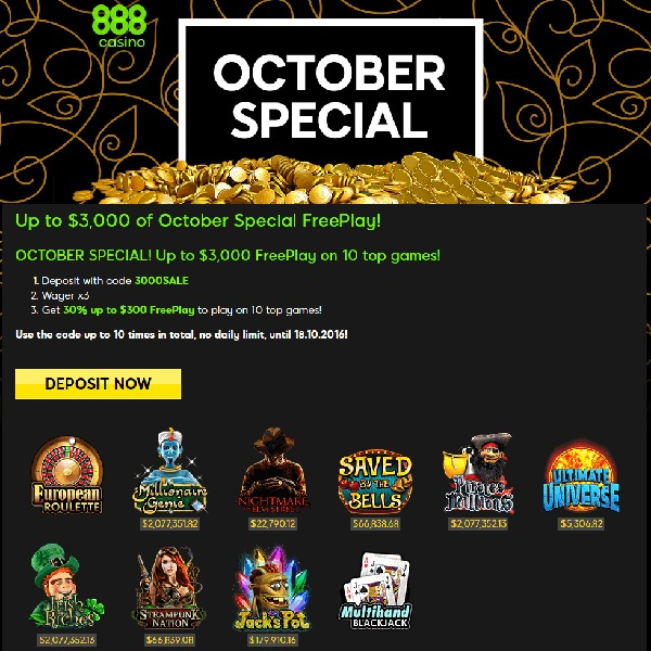 Claim Up to $3,000 of Free Play at 888 Casino