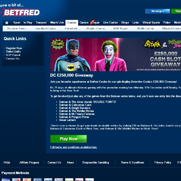 Win a Share of £250K in Betfred's DC Giveaway