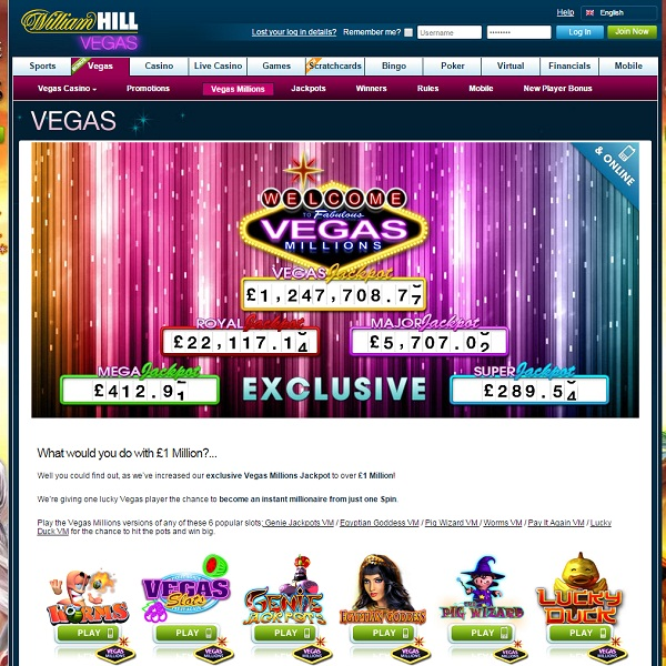 William Hill Vegas Casino Offers Exclusive Jackpots