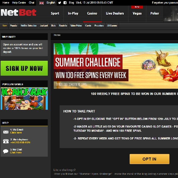 Receive 100 Free Spins Each Week in NetBet's Summer Spins Challenge