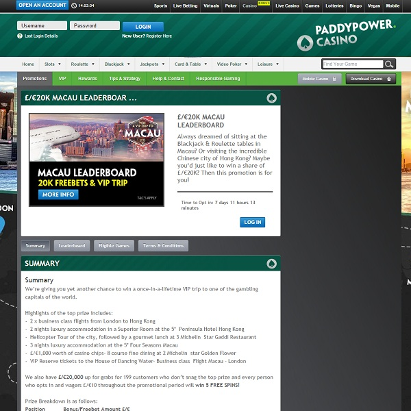 Visit Hong Kong and Macau with Paddy Power Casino