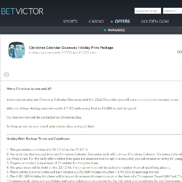 Win a £2,500 Holiday Voucher at BetVictor Casino