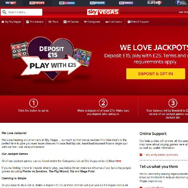 Enjoy a £10 Jackpot Bonus at Sky Vegas Casino