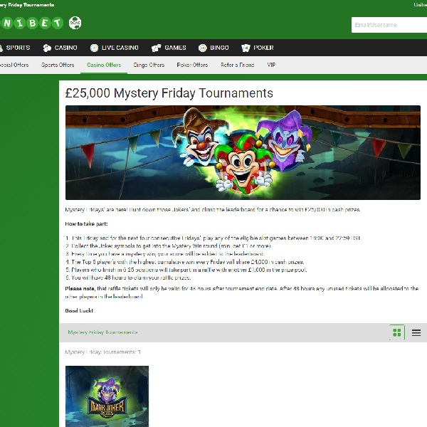 Win a Share of £25,000 Cash at Unibet Casino