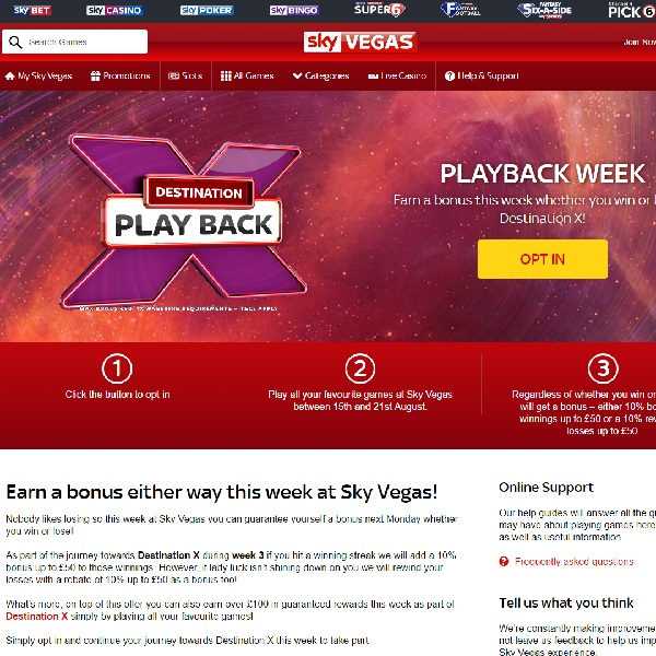 Receive a Guaranteed Bonus at Sky Vegas This Week