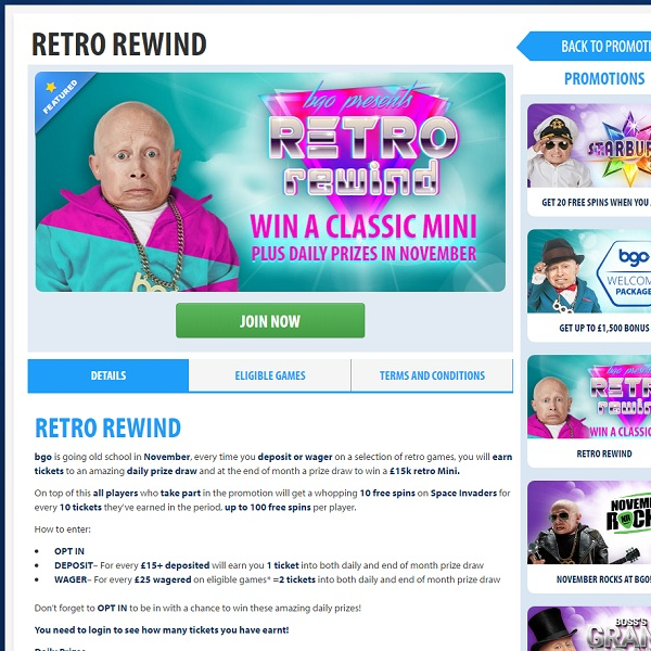 Win a Mini Classic in BGO Casino Retro Rewind Promotion