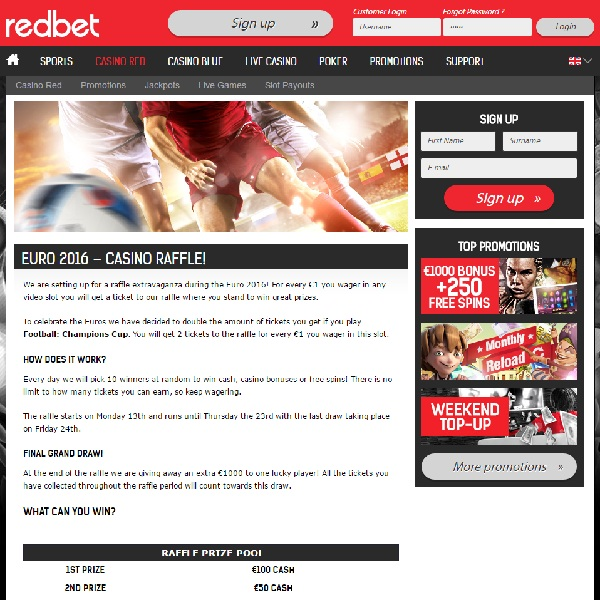 Win Cash Prizes, Bonuses and Free Spins at Redbet Casino