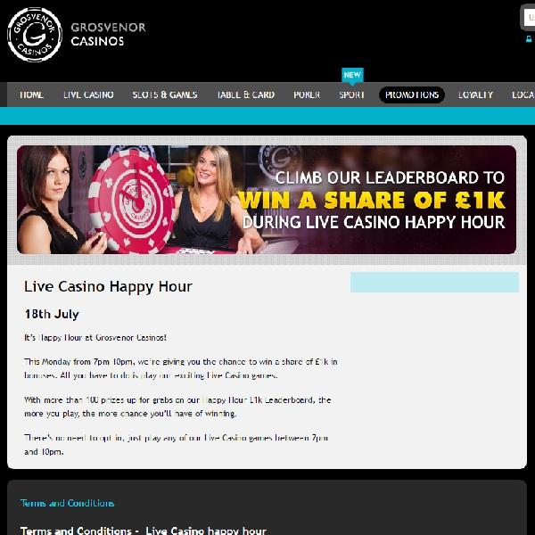 Grosvenor Casino Runs Live Casino Happy Hour with £1K of Prizes
