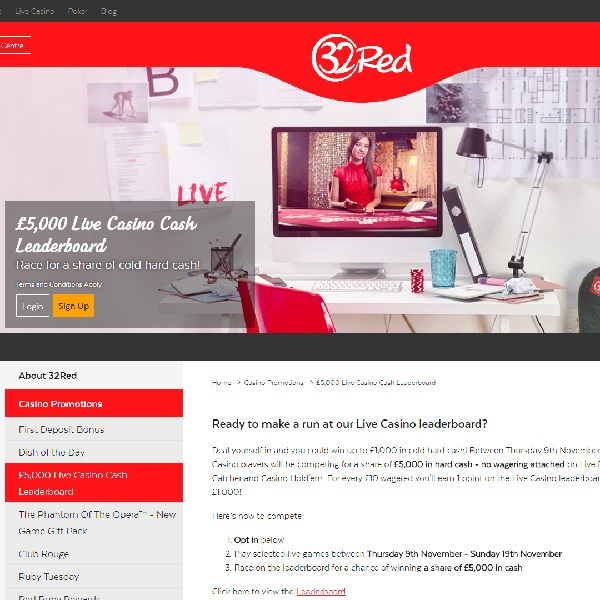 Win a Share of £5K Cash in 32Red's Live Casino Leaderboard Promo