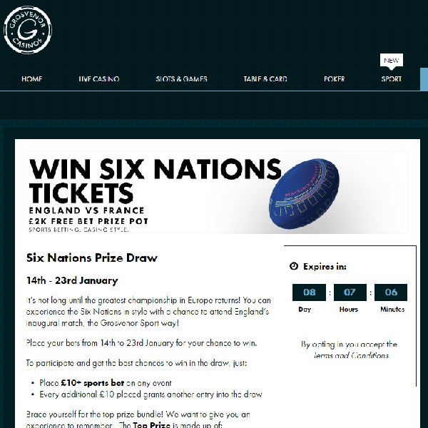 Win Six Nations Tickets at Grosvenor Casino