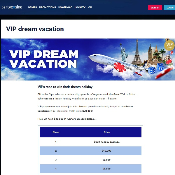 Win a Dream Holiday at Party Casino