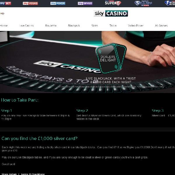 Win £1,000 in Sky Casino Live Blackjack Promotion