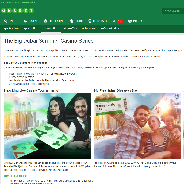 Win a Share of �50K and A Holiday in Dubai at Unibet Casino