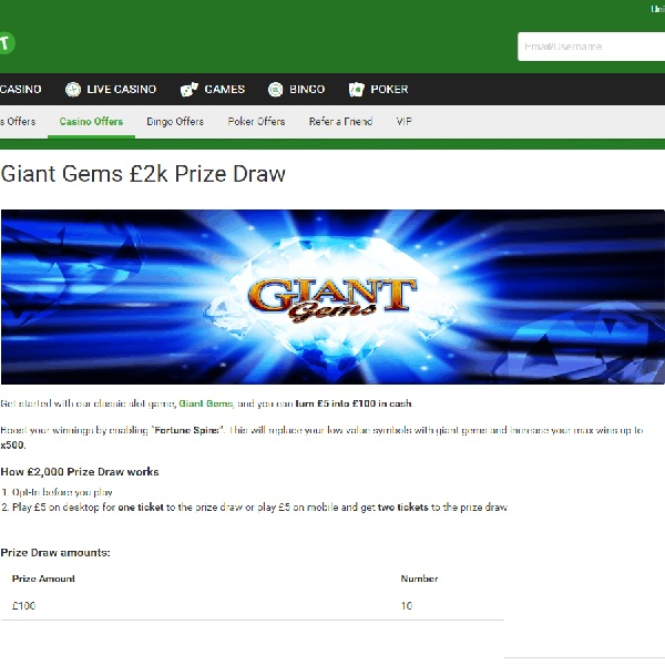 Win a Share of £2K in Unibet Giant Gems Prize Draw