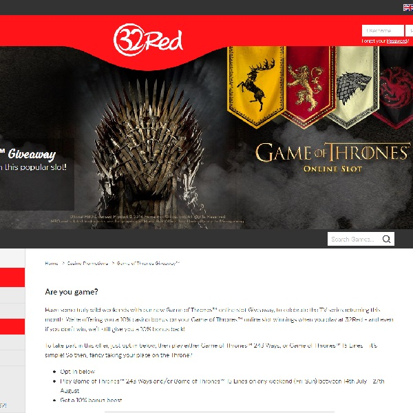 Get a 10% Boost in 32Red's Game of Thrones Giveaway