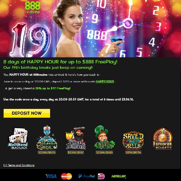 Enjoy Daily Free Play Bonuses at 888 Casino