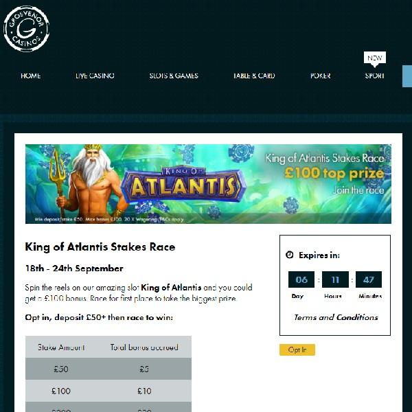 Earn A £100 Bonus at Grosvenor Casino This Week