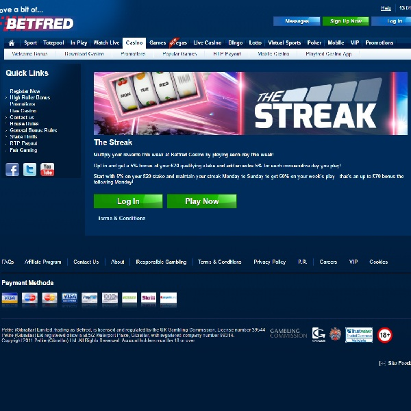 Enter Betfred's The Streak Promotion for Accumulating Bonuses