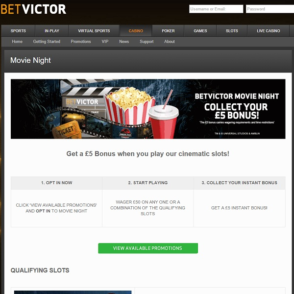 Enjoy a Movie Night Bonus at BetVictor Casino
