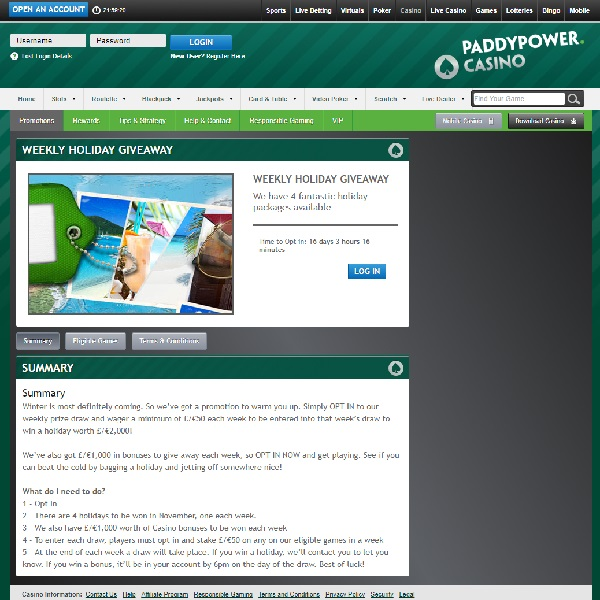 Win a £2000 Holiday at Paddy Power Casino