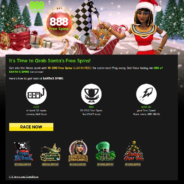 Win up to 200 Free Spins with 888 Casino's Santa's Free Spins Promo