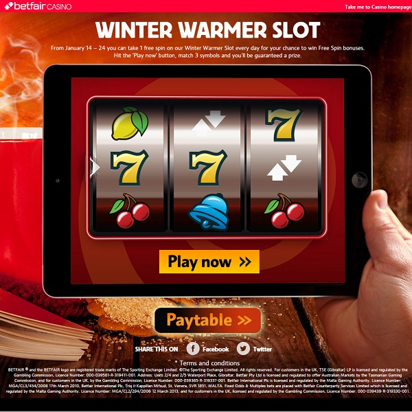 Win Free Spins in Betfair Winter Warmer Promotion