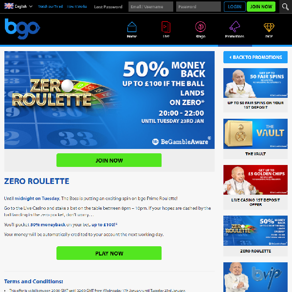 Get Money Back on Losses Playing Roulette at BGO Casino