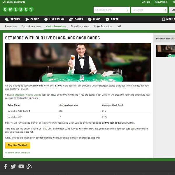 Unibet Casino Offers £1,600 Daily in Blackjack Bonuses