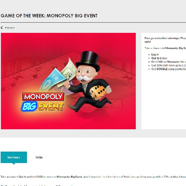Play Monopoly Big Event For Extra Rewards at Gala Casino
