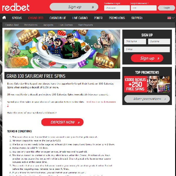 Get 100 Free Spins at Redbet Casino Today