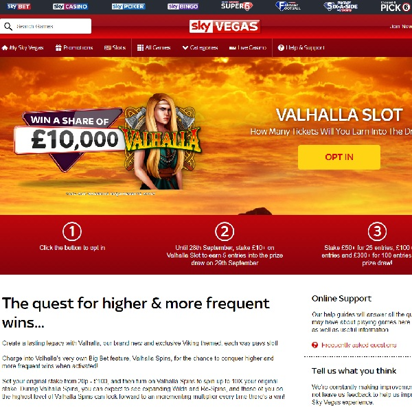Play Valhalla Slot at Sky Vegas to Win a Share of £10K