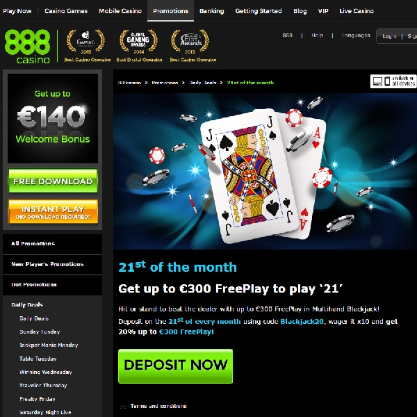 Get €300 of Blackjack Free Play at 888 Casino Today