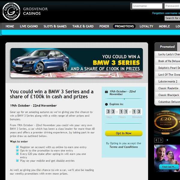 Win a BMW 3 Series at Grosvenor Casino