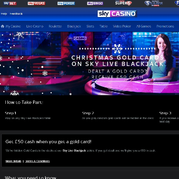 Win £50 Cash with Sky Casino Christmas Gold Cards