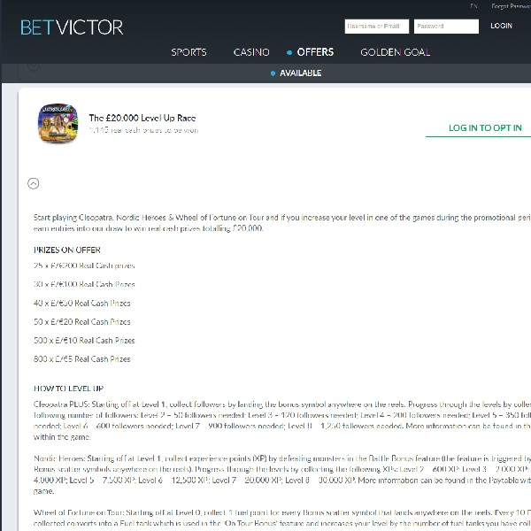 Win a Share of £20,000 Cash at BetVictor Casino