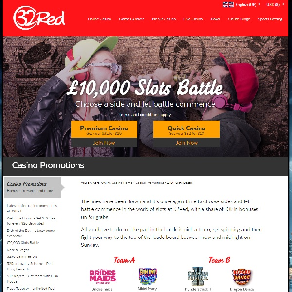 32Red Slots Battle Offers £10,000 Prize Pool