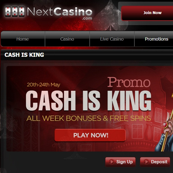 Bonus Cash and Free Spins at Next Casino this Weekend