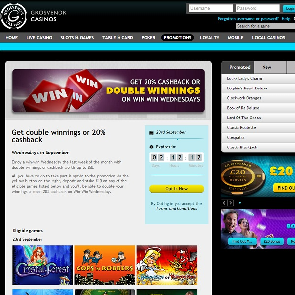 Double Your Winnings at Grosvenor Casino on Wednesdays